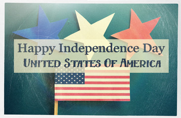 Happy independence day of USA - text card. celebrate  on 4 July.