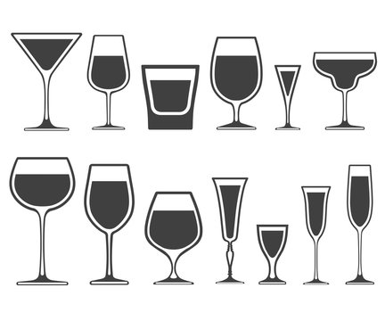 Set of wineglass and glass different shapes vector icons with poured liquid inside isolated on white background