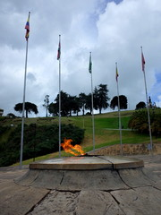 The Eternal Flame monument at Puente de Boyaca, the site of the famous Battle of Boyaca where the army of Simon Bolivar, with the help of the British Legion, secured the independence of Colombia