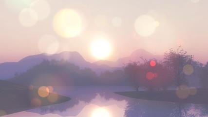 Foto op Plexiglas Lavendel 3D lake landscape with retro effect