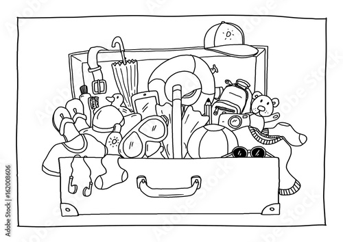 Ausmalbild - Koffer packen\