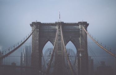 Printed kitchen splashbacks Brooklyn Bridge Foggy cloudy rainy day on Brooklyn Bridge. NYC