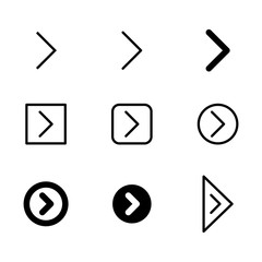 Arrow vector icon set in thin line and filled style.