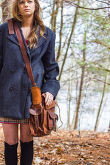 Teen Girl in Winter Pea Coat with Leather Bag 3