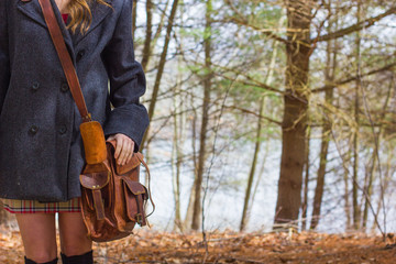 Teen Girl in Winter Pea Coat with Leather Bag 2