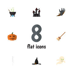 Flat Icon Celebrate Set Of Witch Cap, Ghost, Gourd And Other Vector Objects. Also Includes Cranium, Hand, Fortress Elements.