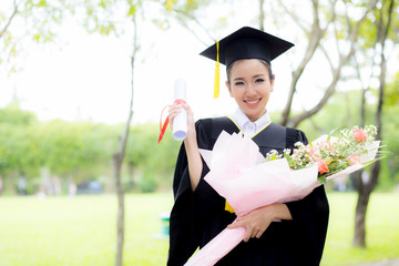 Happy graduated student girl, congratulations of education success.