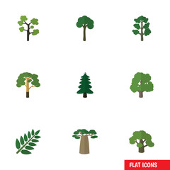 Flat Icon Ecology Set Of Evergreen, Forest, Park And Other Vector Objects. Also Includes Baobab, Forest, Timber Elements.