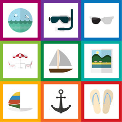 Flat Icon Summer Set Of Reminders, Scuba Diving, Ship Hook And Other Vector Objects. Also Includes Ship, Swimmer, Recliner Elements.