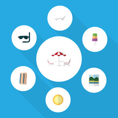 Flat Icon Beach Set Of Wiper, Sunshine, Deck Chair And Other Vector Objects. Also Includes Cream, Aqualung, Ice Elements.