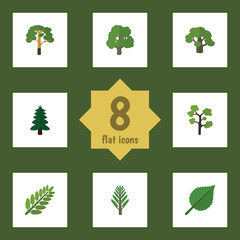 Flat Icon Natural Set Of Tree, Park, Leaves And Other Vector Objects. Also Includes Leaf, Oak, Timber Elements.