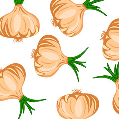 Vector seamless pattern with hand drawn onions