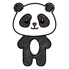 Stuffed animal panda icon vector illustration design doodle