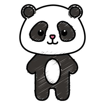 Stuffed animal panda icon vector illustration design doodle