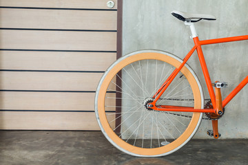 orange bicycle parked decorate interior living room modern style