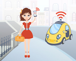 Woman ordering driverless taxi using mobile application. Cartoon female character with smartphone in hand and car on city street background. Vector illustration.