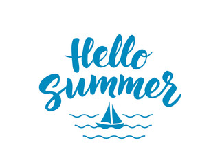 Hello Summer text with nautical design elements. Boat icon and w