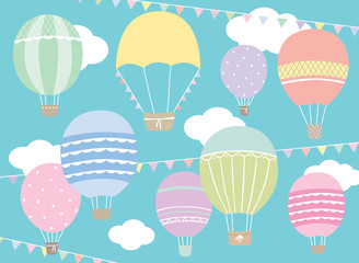 Vector illustration of hot air balloon set in pastel colors.