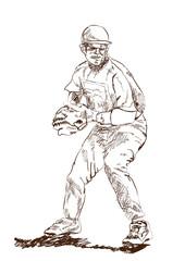 Sketch of Baseball player in vector illustration.