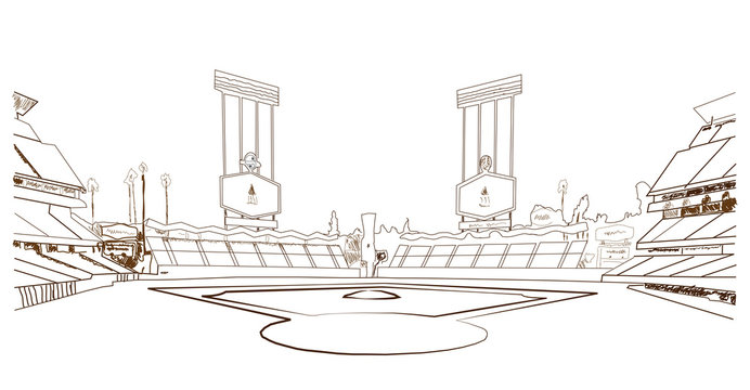 Sketch of Baseball stadium, vector.