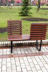 A wooden bench in the park
