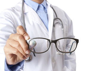 Doctor hands holding glasses on white background.