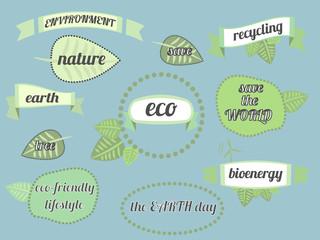 Set of green logo on blue background. Leaves, badges, ribbons. Sign label,textured emblem set. Organic design template. Set for cafe, restaurant badges, tags, packaging