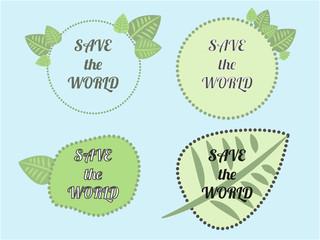 Set of green logo on blue background. Leaves, badges. Sign label,textured emblem set. Organic design template.