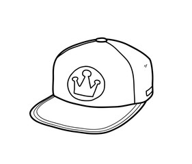 Snapback Hat, a hand drawn vector doodle illustration of a snapback hat.