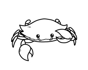Crab Doodle, a hand drawn vector doodle of a crab  with big pincers.