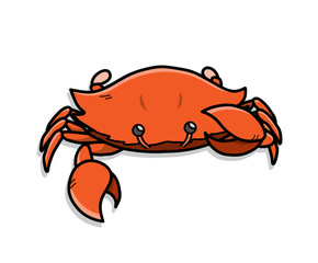 Crab Cartoon Illustration, a hand drawn vector doodle of a crab  with big pincers.