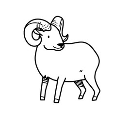 Ram Doodle, a hand drawn vector doodle ram with big horns.