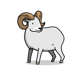 Ram Cartoon Animal, a hand drawn vector cartoon ram with big horns.