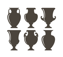 Ancient Greek vases. Isolated vases on white background