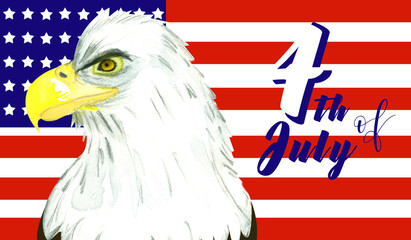 Flag of USA and bald eagle infront of it as a concept of celebration 4th of July- national independence day