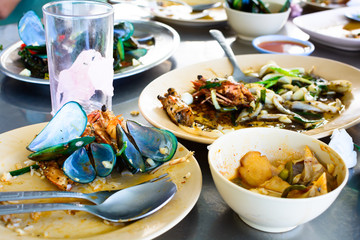 Seafood scraps on a plate