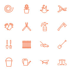 Set Of 16 Farm Outline Icons Set.Collection Of Safer Of Hand , Shears, Grass-Cutter Elements.