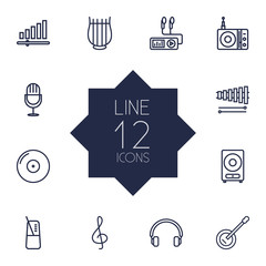 Set Of 12 Melody Outline Icons Set.Collection Of Audio Level, Loudspeaker, Station And Other Elements.