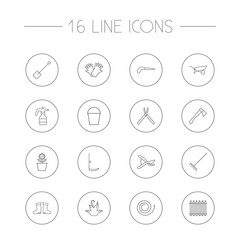 Set Of 16 Household Outline Icons Set.Collection Of Spade, Shears, Secateurs And Other Elements.