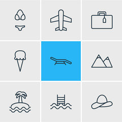 Vector Illustration Of 9 Summer Icons. Editable Pack Of Sorbet, Airplane, Suitcase And Other Elements.