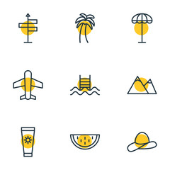 Vector Illustration Of 9 Summer Icons. Editable Pack Of Hill, Airplane, Umbrella And Other Elements.