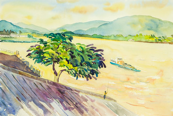 Watercolor original landscape painting mae khong river and mountain background
