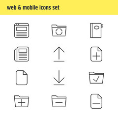 Vector Illustration Of 12 Workplace Icons. Editable Pack Of Add, Book, Minus And Other Elements.