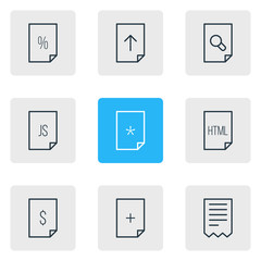 Vector Illustration Of 9 Page Icons. Editable Pack Of Script, Percent, Code And Other Elements.