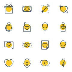 Vector Illustration Of 16 Passion Icons. Editable Pack Of Engagement, Male, Messenger And Other Elements.