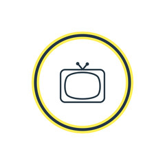 Vector Illustration Of Television Outline. Beautiful Cinema Element Also Can Be Used As Tv Element.