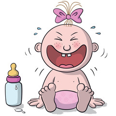 Illustration of baby laughing