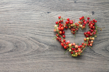 Heart of red currant berries, tasty proof of love