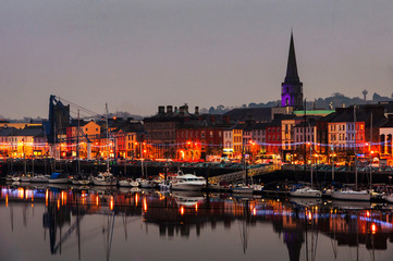 Waterford, Ireland. Panoramic view of a cityscape at night