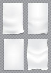 White empty paper action set on checkered design for creative background vector illustration.